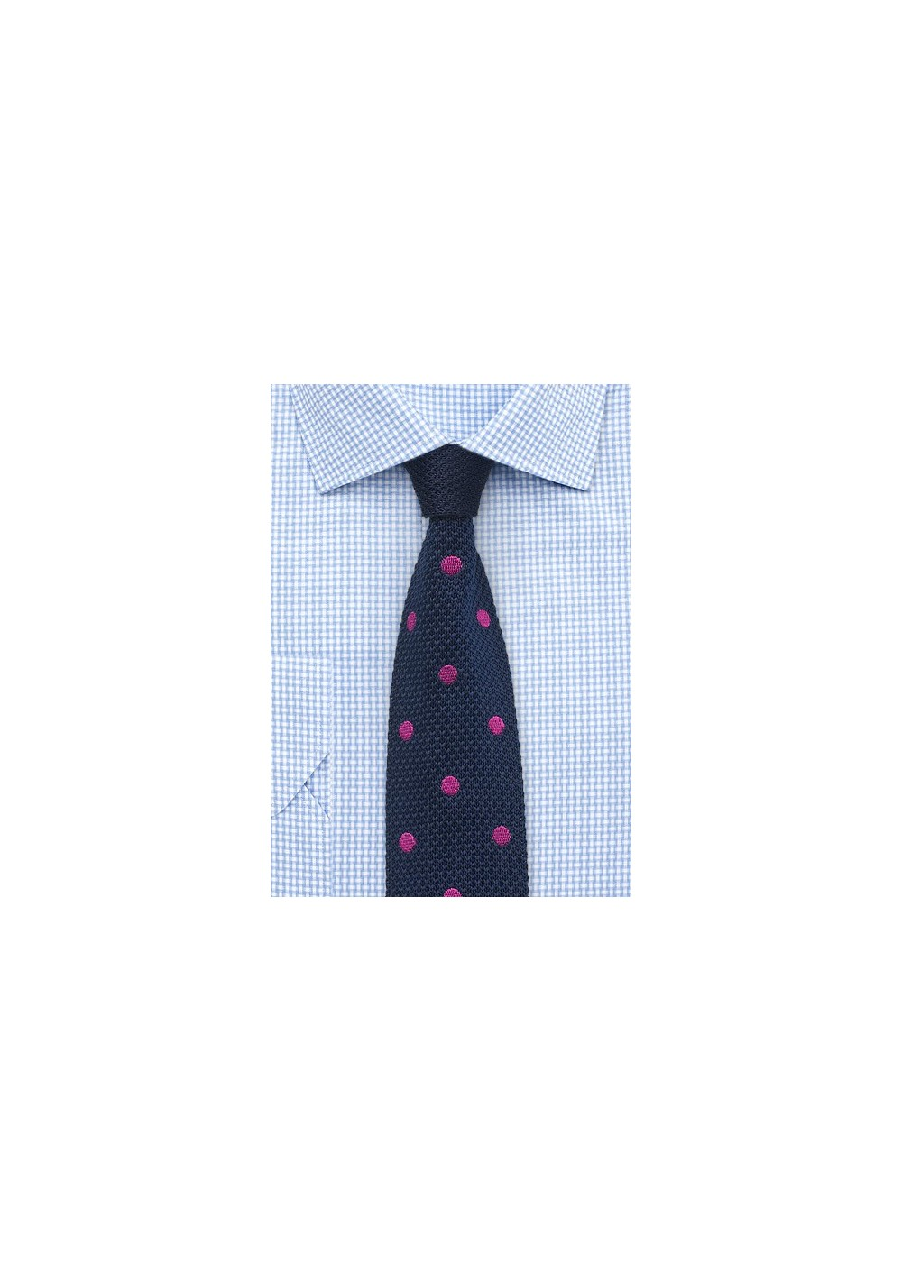 Blue Knit Tie with Pink Polka Dots