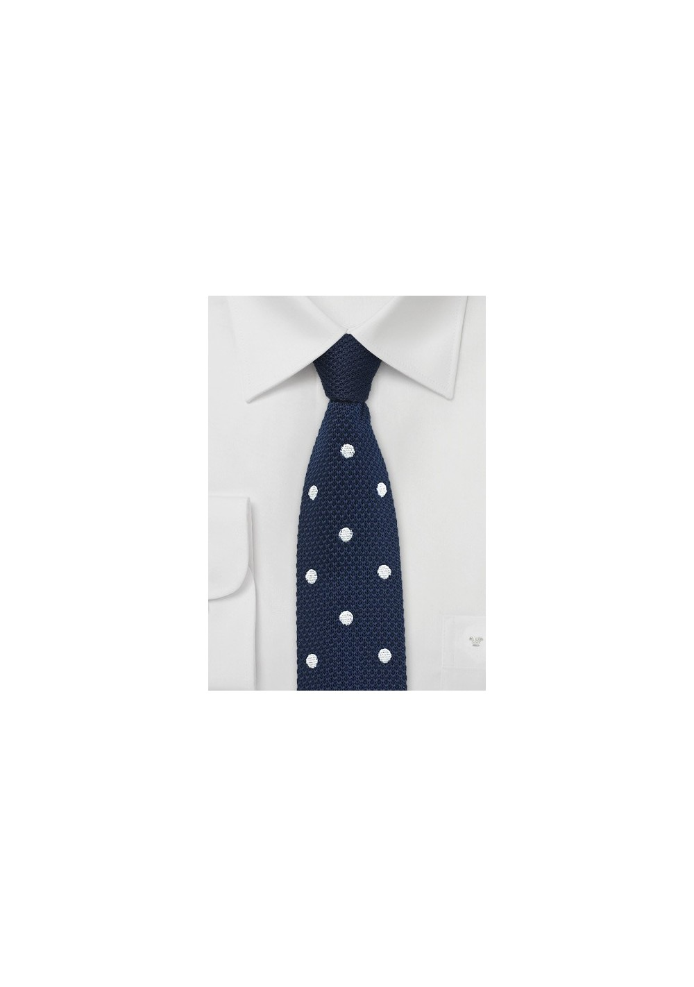 Navy Knit Tie with White Polka Dots
