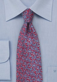 Red Silk Tie with Lavender Paisleys