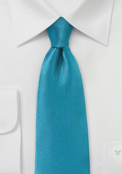 Ribbed Texture Silk Tie in Capri Breeze Blue