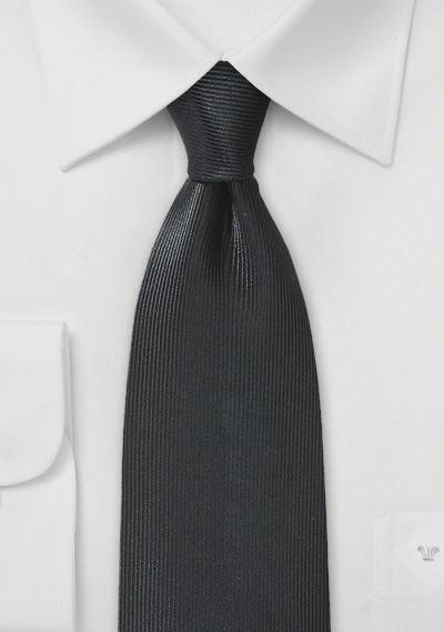 Ribbed Textured Silk Tie in Jet Black