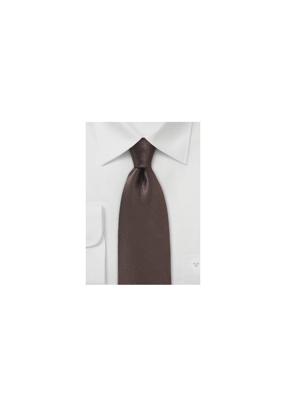 Textured Designer Silk Tie in Chocolate Brown