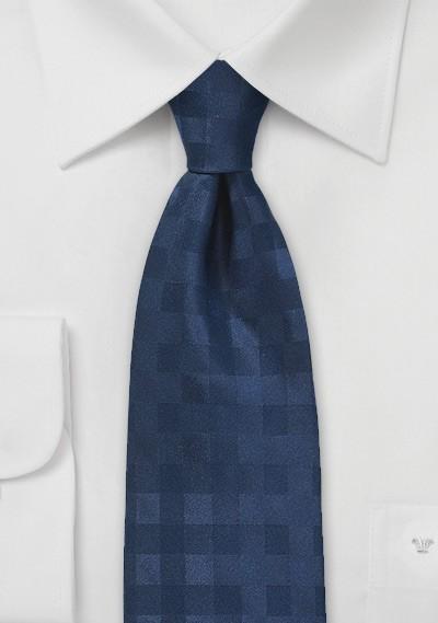 Monochromatic Gingham Tie in Dark Navy