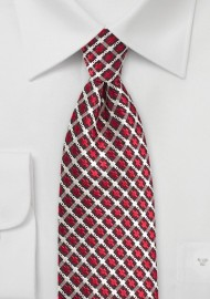Retro Check Tie in Red, Gold, and Black