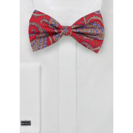 Bold Red Paisley Bow Tie