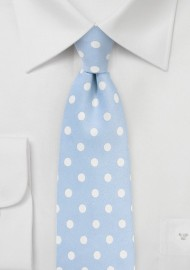 Powder Blue and White Polka Dot Tie