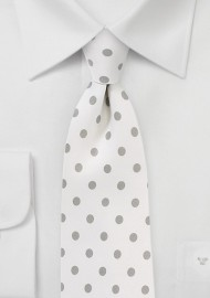 Ivory Necktie with Silver Polka Dots