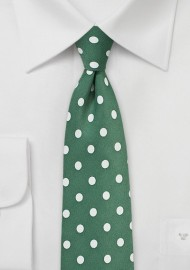 Pine Green Tie with Ivory Polka Dots