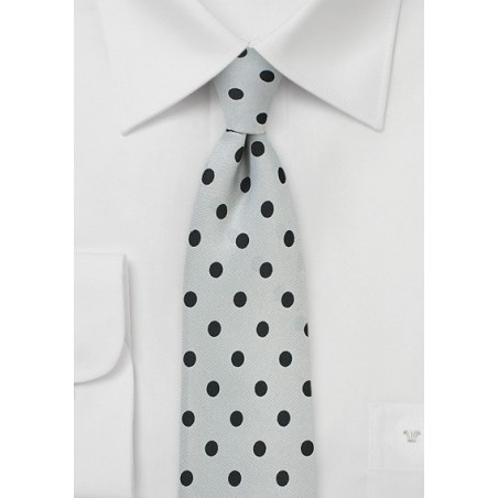 Dove Gray and Black Polka Dot Tie
