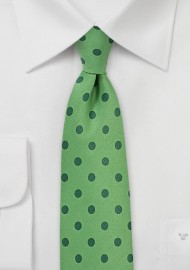 Grass Green Tie with Hunter Green Polka Dots