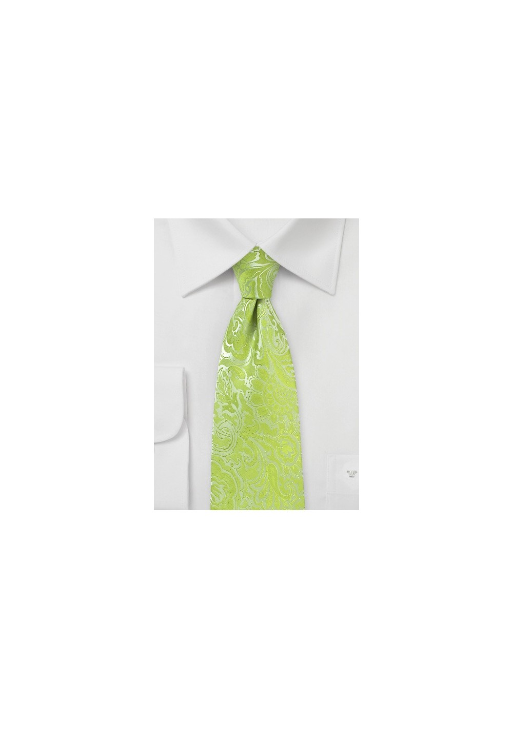 Lime Kids Tie with Paisley Print