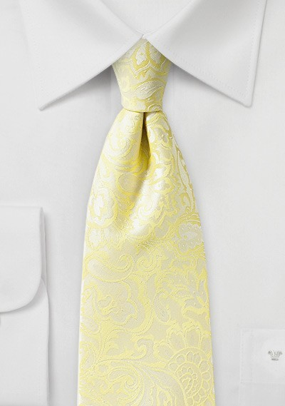 Sunshine Yellow Paisley Tie