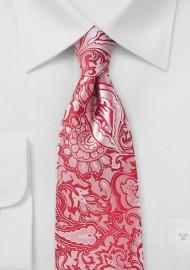 Poppy Red Paisley Necktie