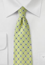 Floral Silk Tie in Linden Green