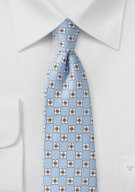 Baby Blue Floral Silk Necktie