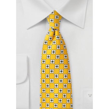 Flower Print Silk Tie in Bright Yellow