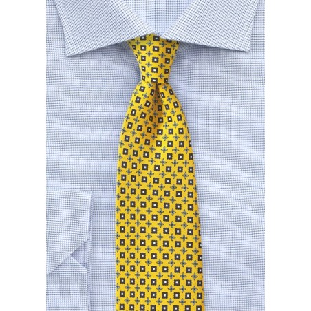 Yellow and Blue Foulard Tie