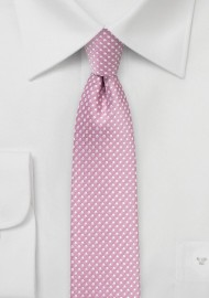 Pin Dot Tie in Dusty Rose