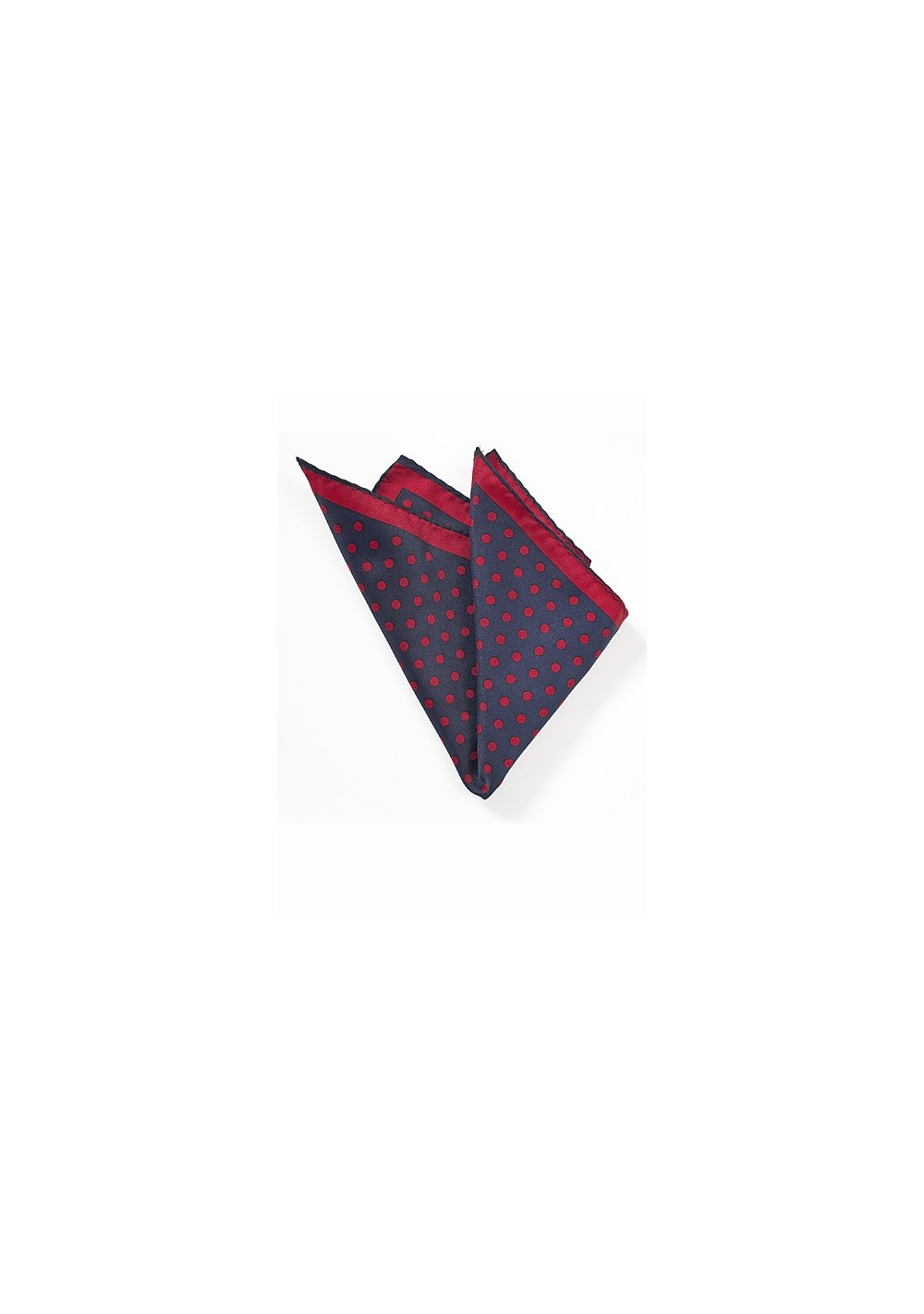 Navy and Bright Red Dotted Pocket Square