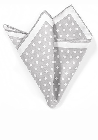 Silver Pocket Square with White Polka Dots