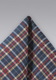Tartan Plaid Pocket Square in Navy