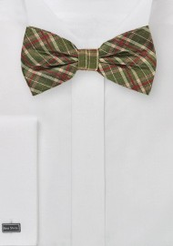 Tartan Plaid Bow Tie in Olive Green