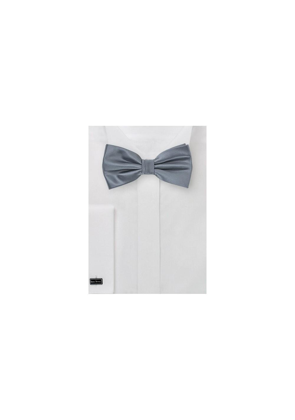 Gray Satin Bow Tie