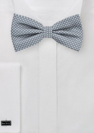 Gray Pin Dot Colored Bow Tie