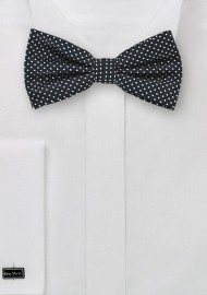 Black Bow Tie with Silver Pin Dots