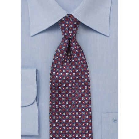 Geometric Print Tie in Burgundy