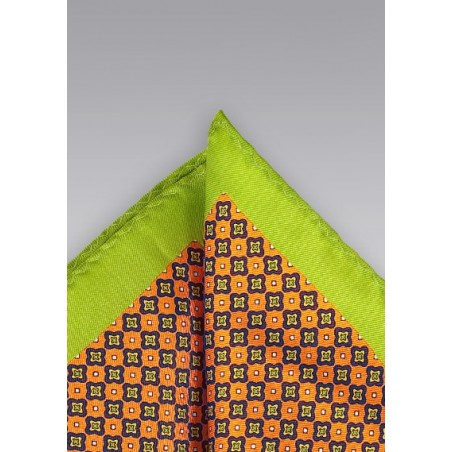 Foulard Print Pocket Square in Orange and Lime
