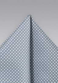 Formal Silver Pocket Square with Dots