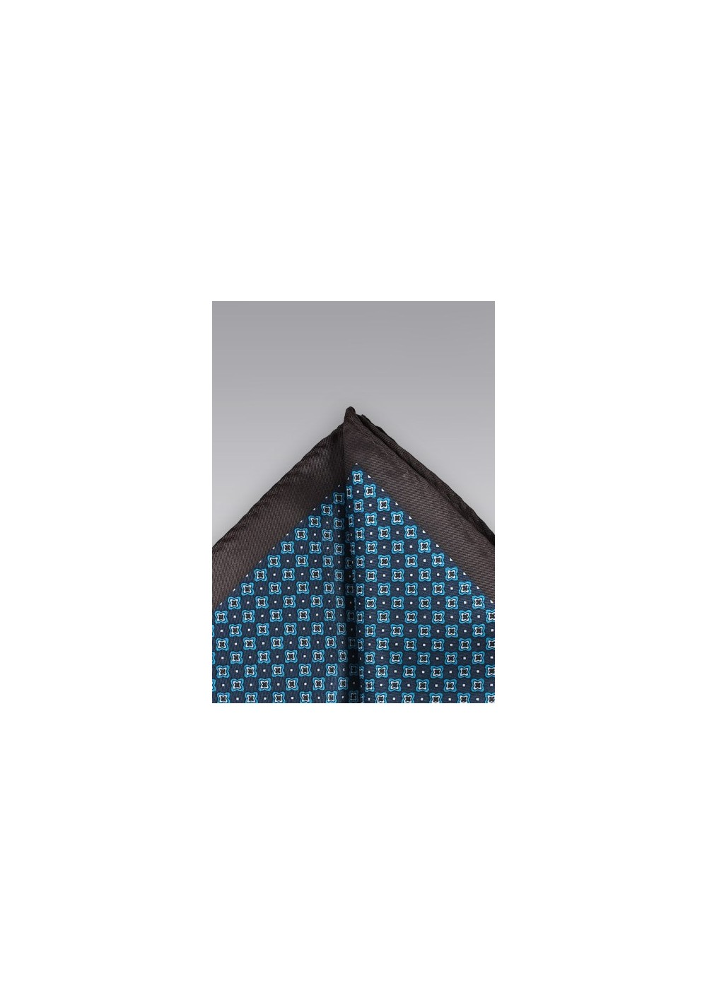 Blue and Brown Floral Pocket Square