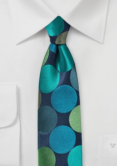 Giant Polka Dot Skinny Tie in Blue