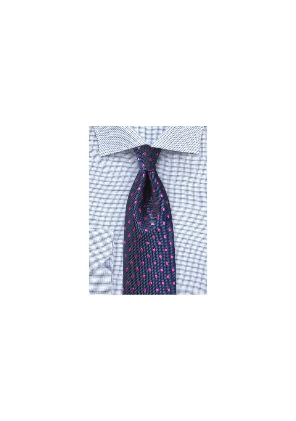 Navy Silk Tie with Magenta Polka Dots