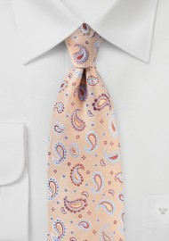 Paisley Tie in Coral Sands Color