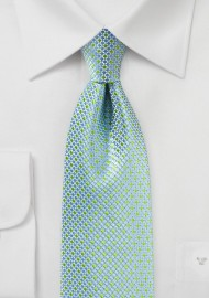 Light Blue and Green Micro Check Tie