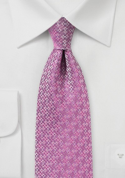 Geometric Design Tie in Pink
