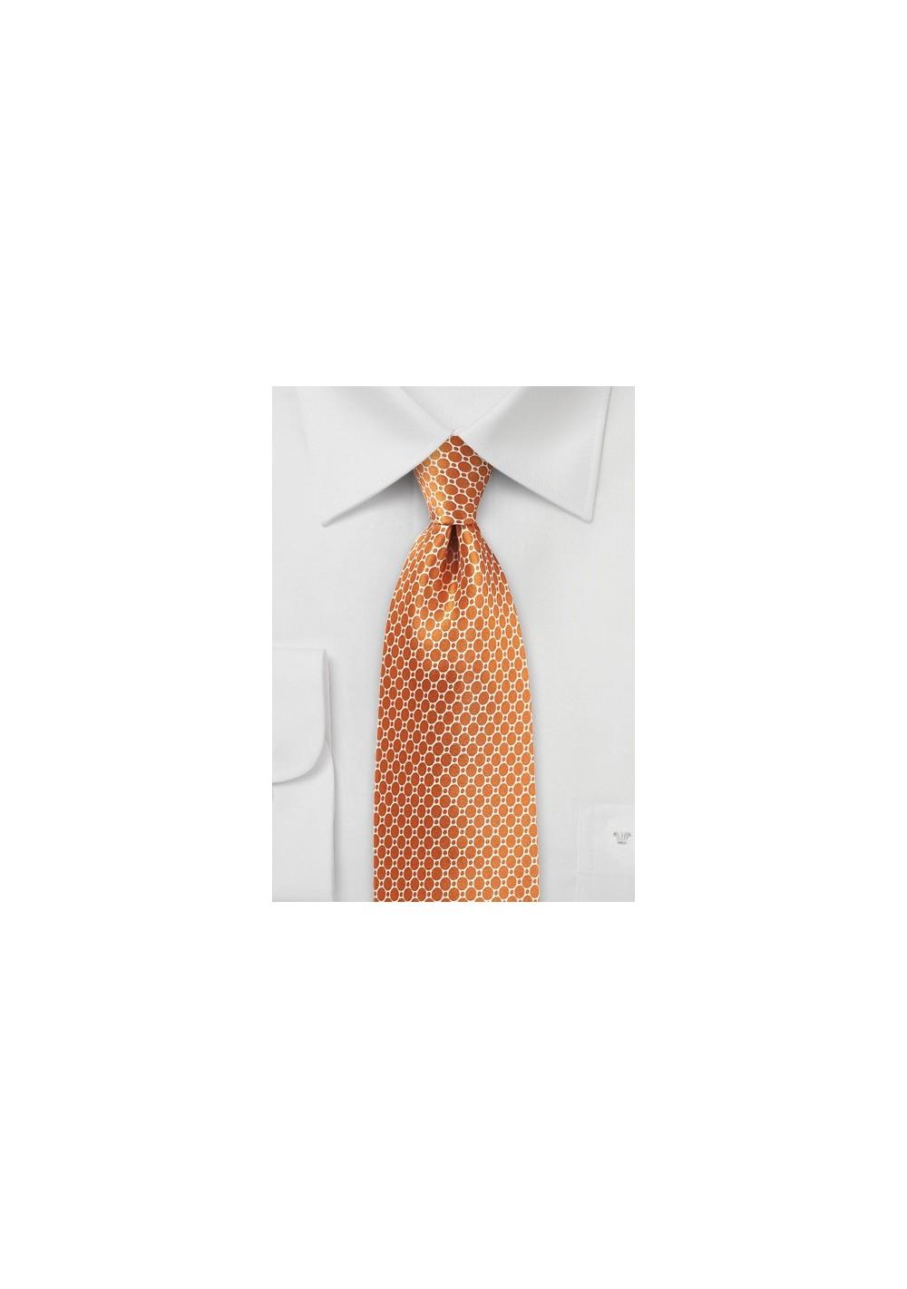 Ochre Orange Satin Silk Tie