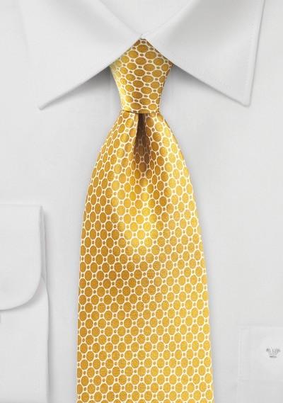 Satin Silk Tie in Old Gold