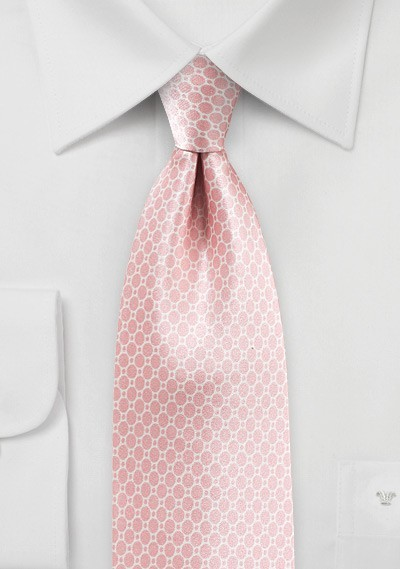 Satin Silk Tie in Strawberry Cream