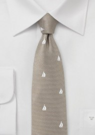 Nautical Sailboat Tie in Beige