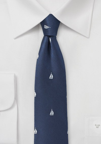 Navy Blue Skinny Tie with Sailboats