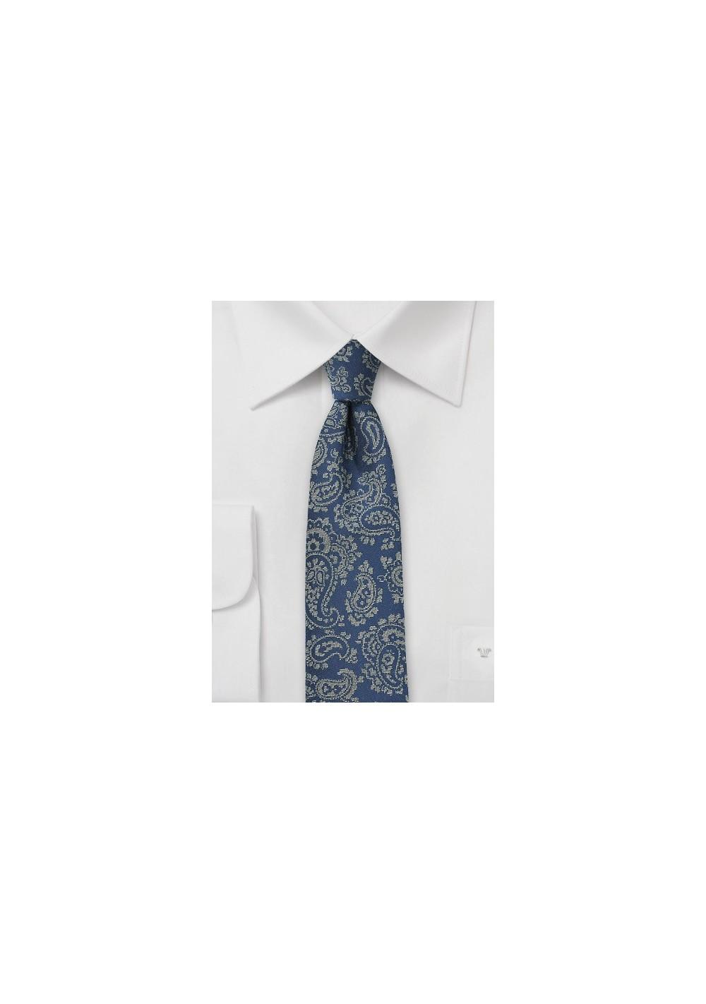 Blue Slim Cut Tie with Gray Paisley