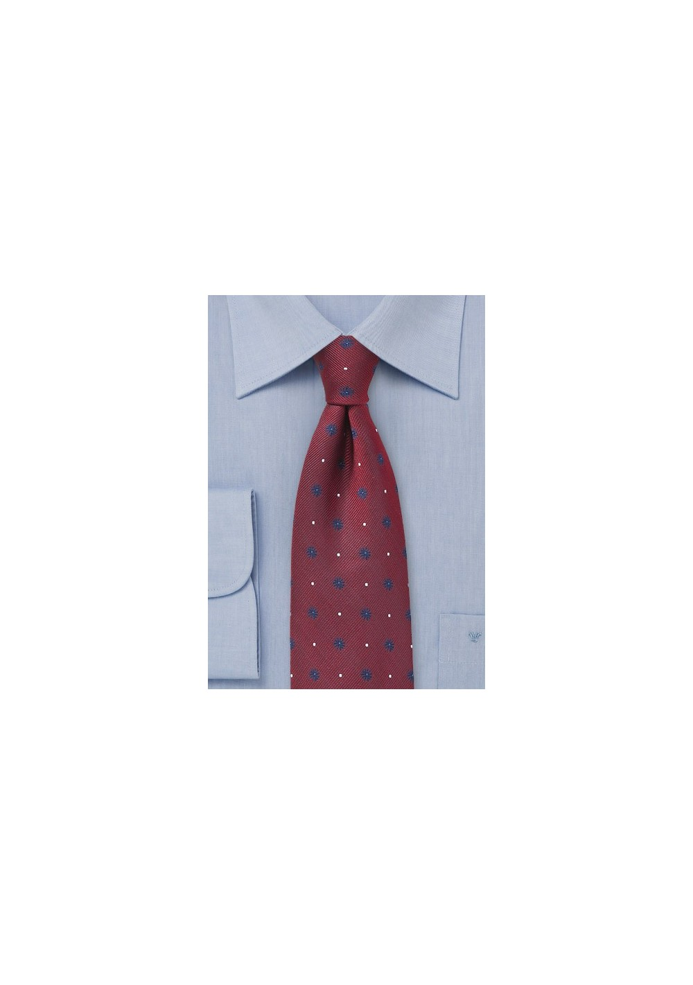 Cherry Red Silk Tie with Navy Florals