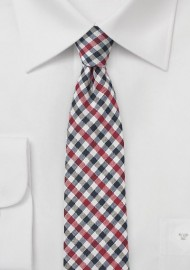 Autumn Gingham Tie in Red and Navy