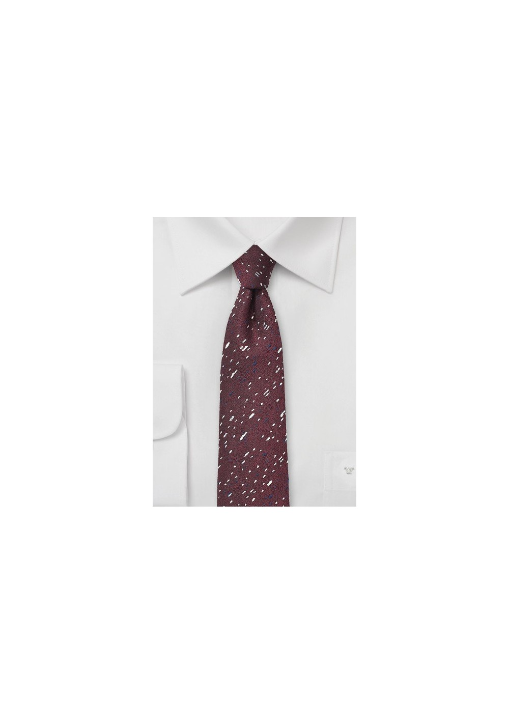 Speckled Skinny Tie in Port Red