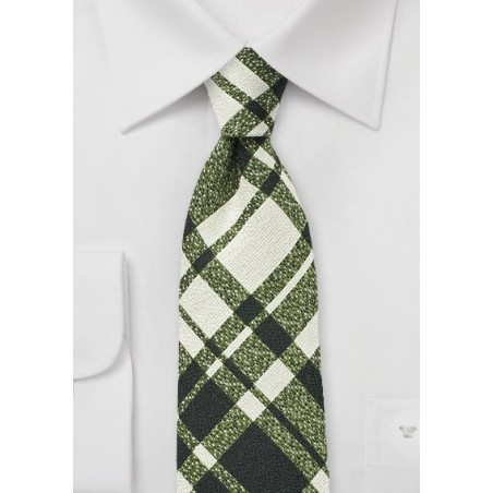 Beige and Green Wool Plaid Tie