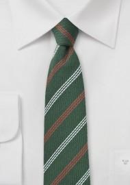 Hunter Green Striped Wool Skinny Tie