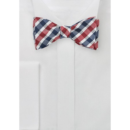 Gingham Check Bow Tie in Silk